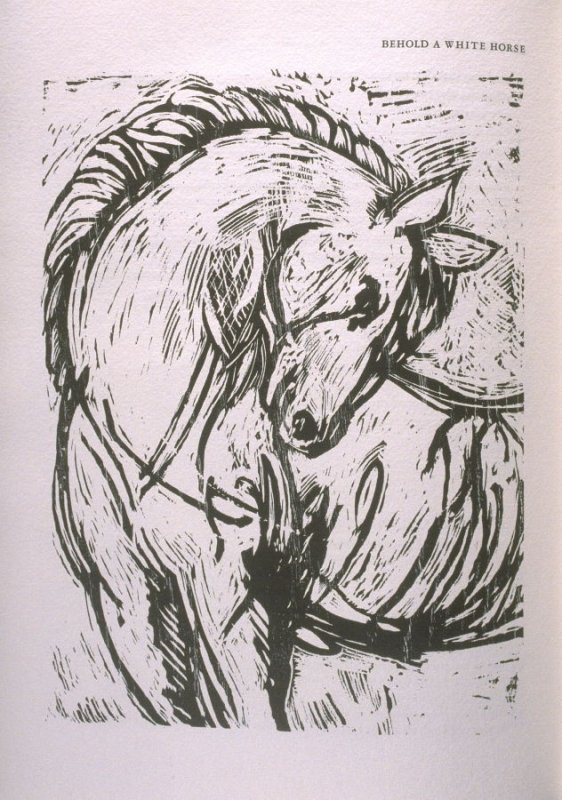 """Behold a White Horse,"" illustration in the book The Apocalypse/The Revelation of Saint John The Divine/The Last Book of the New Testament from the King James Version of the Bible, 1611, with Twenty-nine Prints from Woodblocks Cut by Jim Dine. (San Franci"