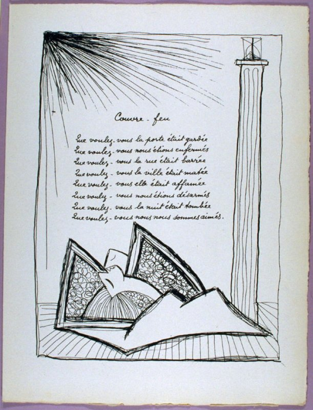 Page of the poem Couvre-feu in the book Poésie et verité 1942 by Paul Eluard (Paris: Roger Lacourière, 1947)