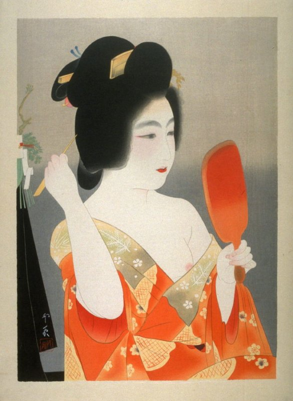 Lady with Red Lacquer Mirror Fixing Her Hair