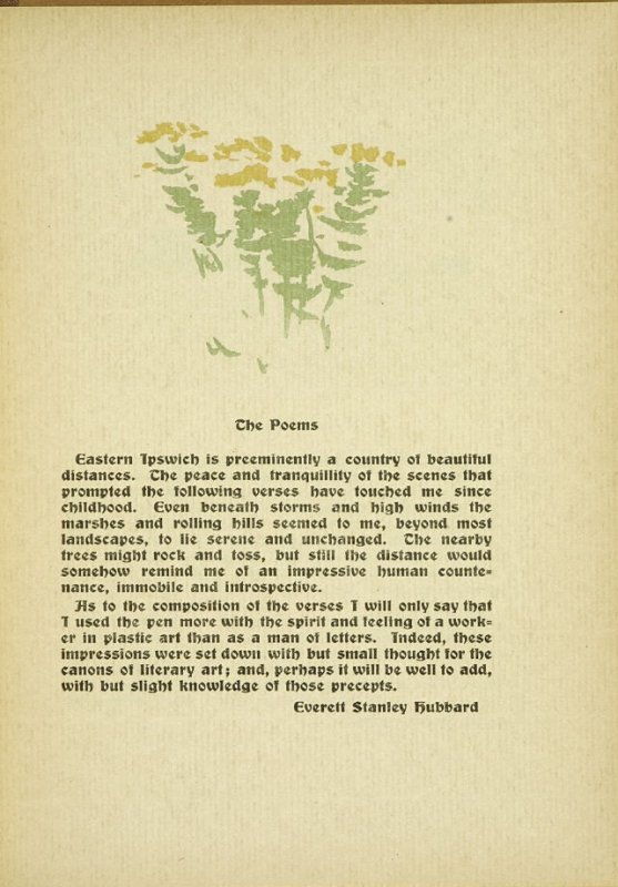 """Untitled, accompanying the paragraphs discussing """"The Poems,"""" in the book By Salt Marshes by Everett Stanley Hubbard (Publisher and location unknown, 1908)"""