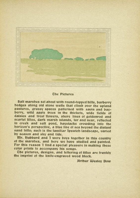 """Untitled, accompanying the paragraphs discussing """"The Pictures,"""" in the book By Salt Marshes by Everett Stanley Hubbard (Publisher and location unknown, 1908)"""