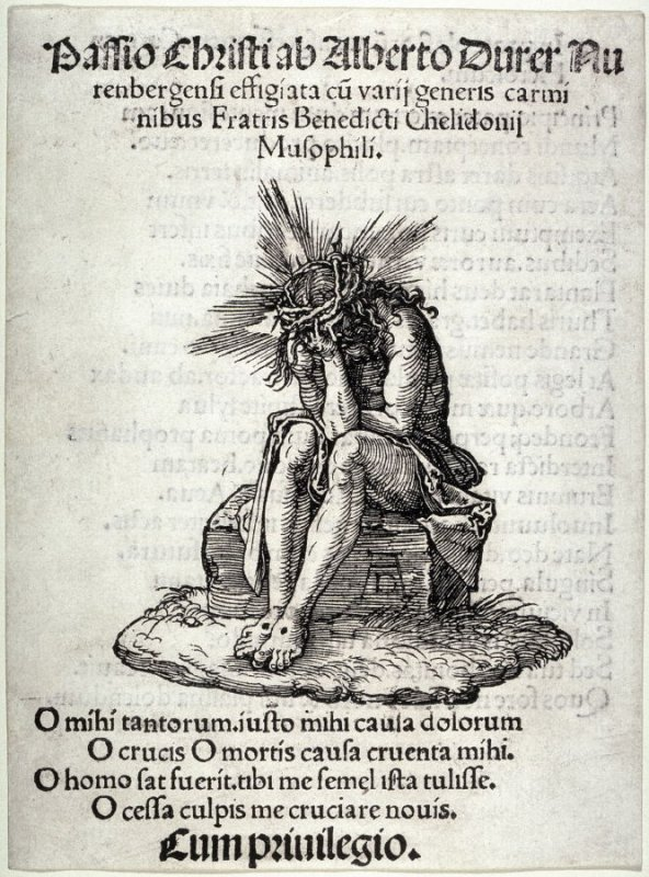 The Man of Sorrows Seated, title page and first plate in the series, The Little Passion