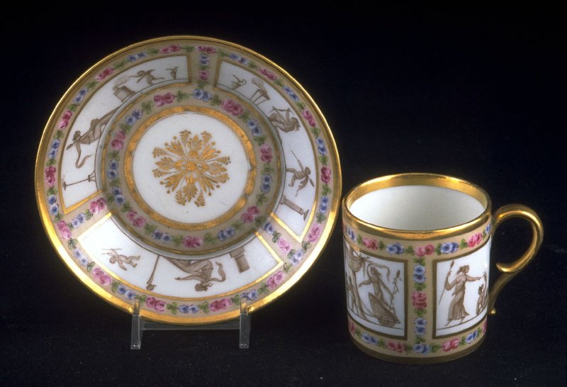 Cup and saucer with mythological scenes