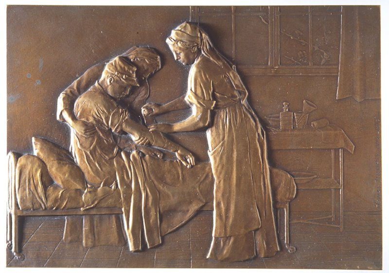 Plaque: French soldier in hospital two nurses with wounded soldier
