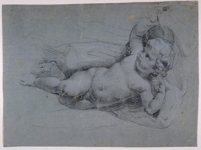 Putto Holding back Drapery