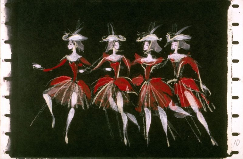 "Costume Sketch : ""Four Female Dancers"" for Beauty and the Beast"