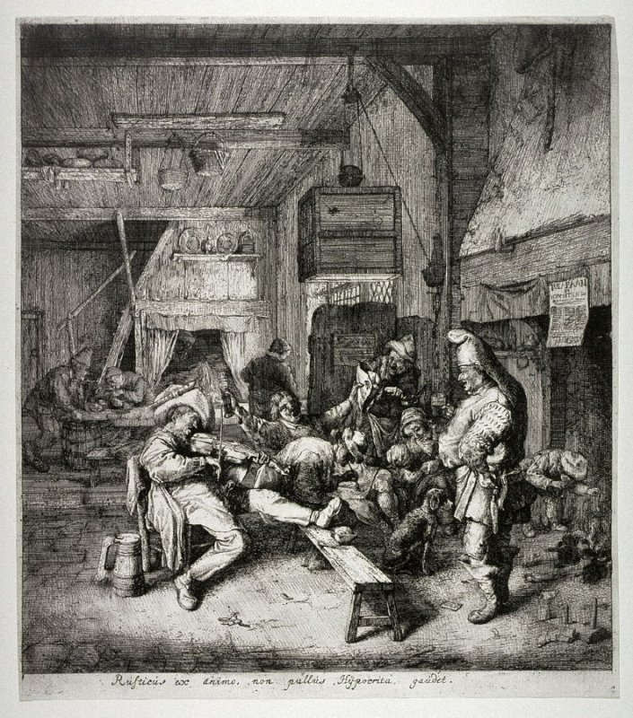 A Seated Fiddler Playing in an Inn