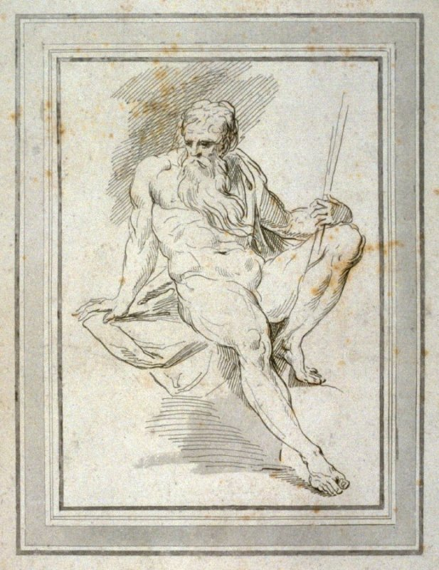 Old man, seated, illustration to the series 'A collection of prints, after the sketches and drawings of the late celebrated Giovanni Battista Cipriani'