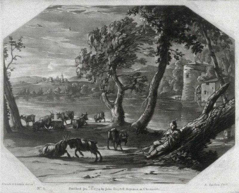 Landscape with Piping Herdsman, plate 11 from vol.I of Earlom's Liber Veritatis (1777)