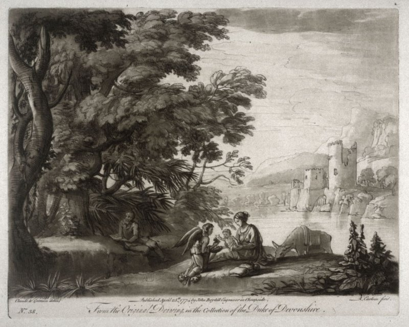 Landscape with the Rest on the Flight to Egypt, plate 38 from vol.I of Earlom's Liber Veritatis (1777)