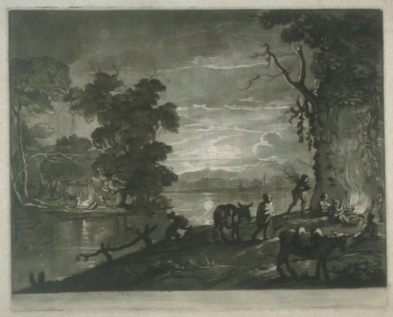 Landscape by Moonlight, plate 59 from vol.I of Earlom's Liber Veritatis (1777)