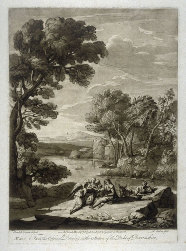 Landscape with the Rest on the Flight into Egypt, plate 88 from vol.I of Earlom's Liber Veritatis (1777)