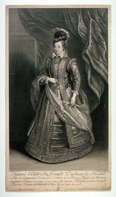 Portrait of Jeanne of Austria, grandduchess of Tuscany, daughter of Emperor Ferdinand I, and mother of Marie de Medicis