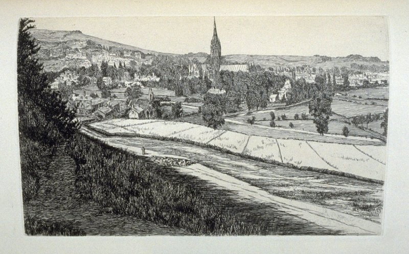 Salisbury, plate 27 in the book, The Etcher (London: Sampson Low…, 1880), vol. 2 [bound in same volume as vol. 1, 1879]