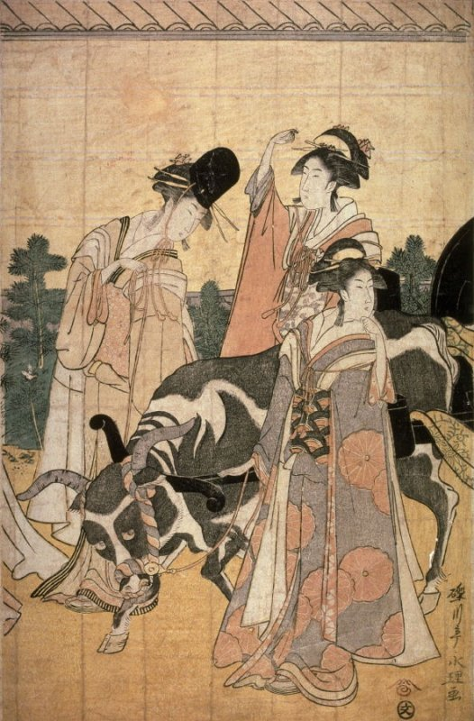 Return of Prince Genji from a Shinto Shrine, part 4 of a pentaptych