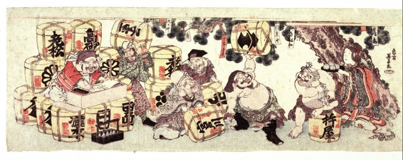 The Seven Lucky Gods Amusing Themselves with a Group of Wine Kegs