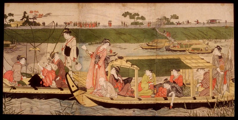 Women in Boats near the Mimeguri Shrine on the Sumida River