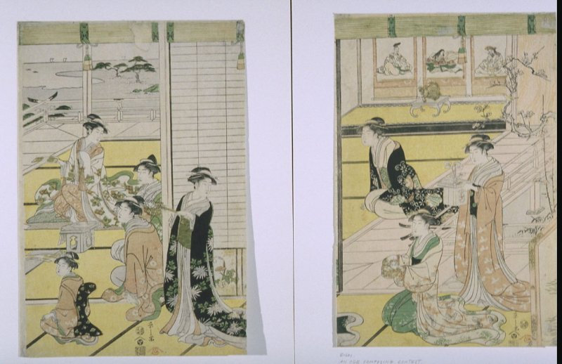 Women Preparing for a Poetry Gathering to Celebrate the New Year, possibly from the Tale of Genji