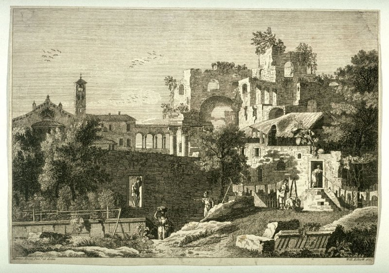 Italian Landscape with people living among ruins