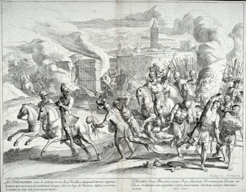 The people from Toulouse under the leadership of their King Theodor attack Littorius, Captain of the Romans, wipe out his army and pursue him.