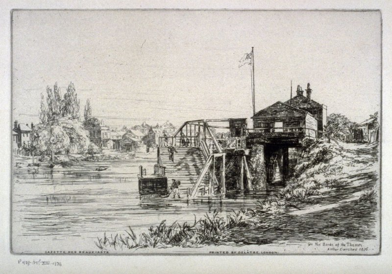 On the Banks of the Thames, illustration to the 'Gazette des Beaux-Arts'
