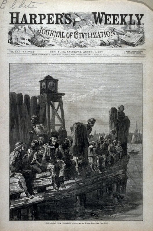 The Great Dock Fisheries - from Harper's Weekly, (August 4, 1877), cover page