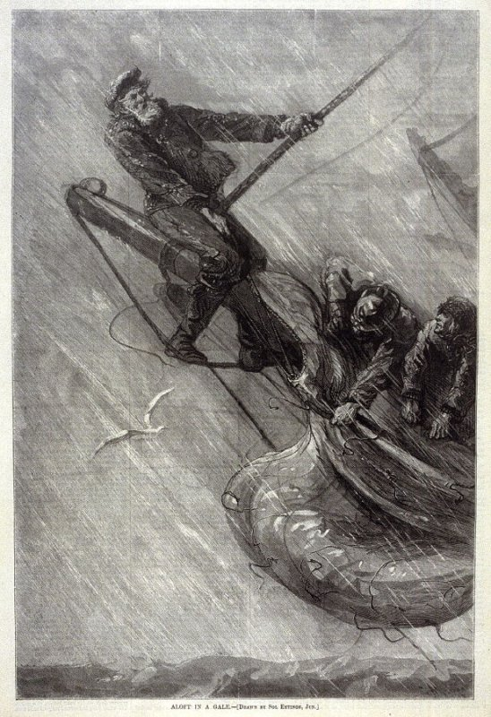 Aloft in a Gale - p.1137 from Harper's Weekly 20 December 1873