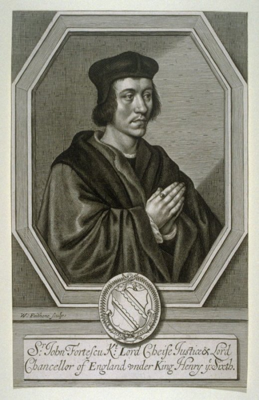 Sir John Fortescu, Lord Chancellor, frontispiece to Edward Waterhouse, 'Fortescutus Illustratus, or a Commentary of that Nervous Treatise de Laudibus Legum Angliae, written by Sir John Fortescue' (London, 1663