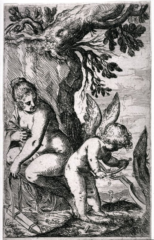 Venus Regarding Cupid, Who is Cutting a Bow, from the series Scherzi d'Amore (The Sport of Love)