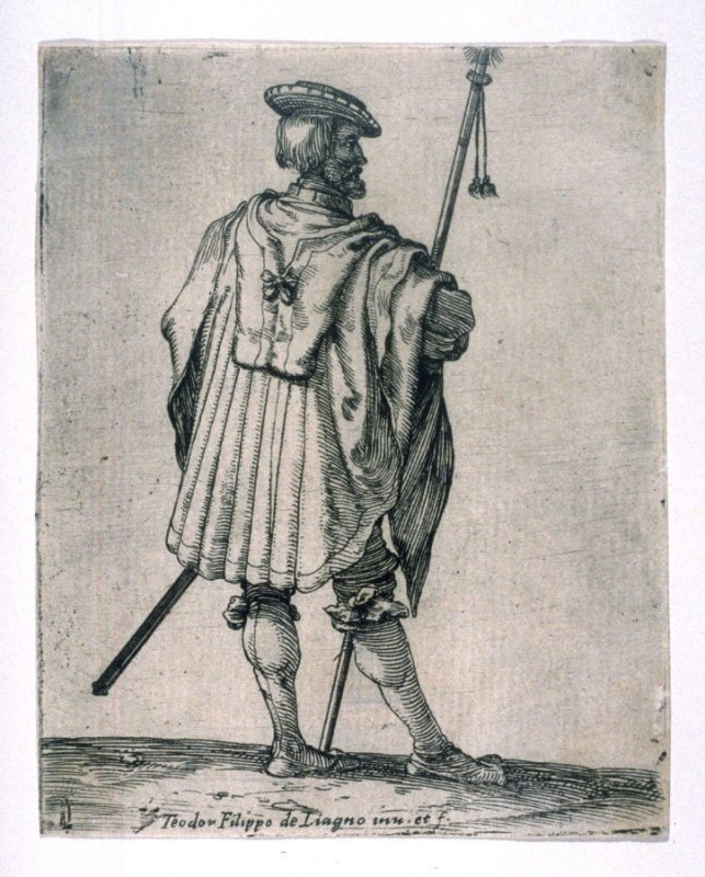 Soldier with His Staff Seen from Behind, from the series of Soldiers