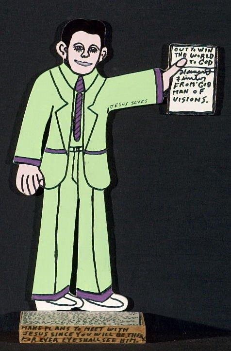 Out to Win the World to God (self-portrait in green suit)