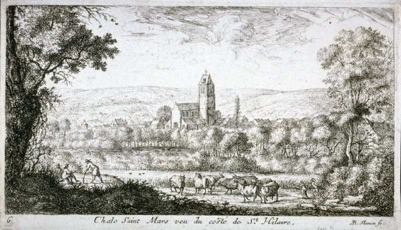Chalo Saint Mars veu du coste de St. Hilaire (Chalo-Saint-Mars seen from St. Hilary), from Views of the Chateau of Longuetoise