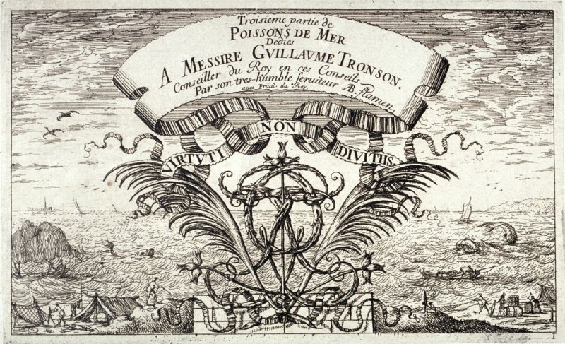 A View of the Sea With Boats and Fishermen, the Title Page from Salt Water Fish, Part III