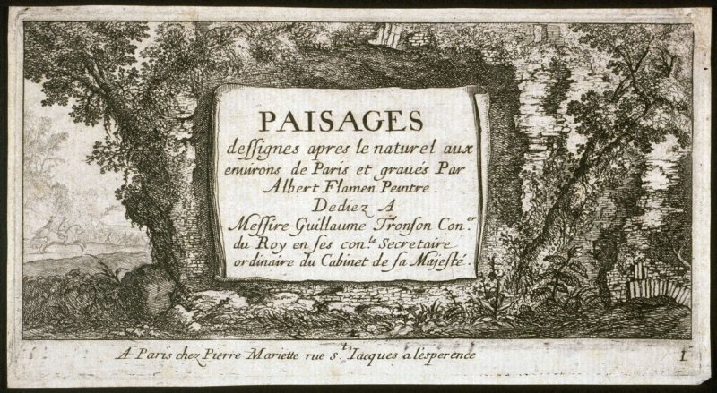 Landscapes Near Paris, the Title plate from the series.