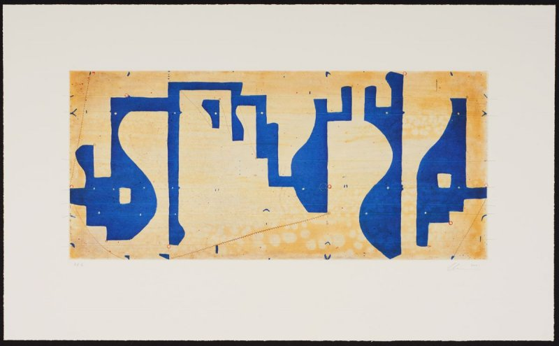 Seven String Etching with White and Blue