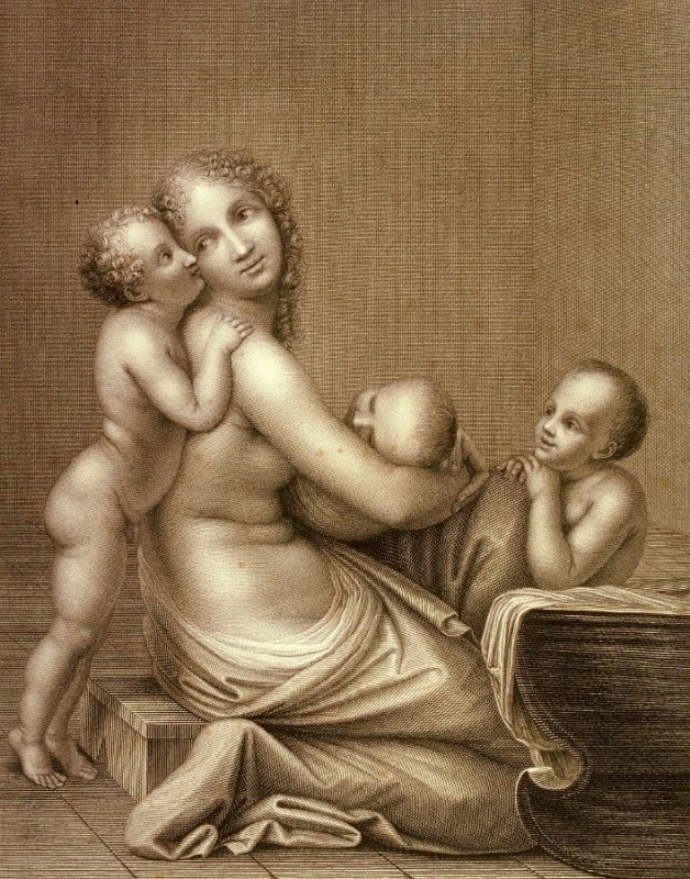 Woman at a Cradle with three Children