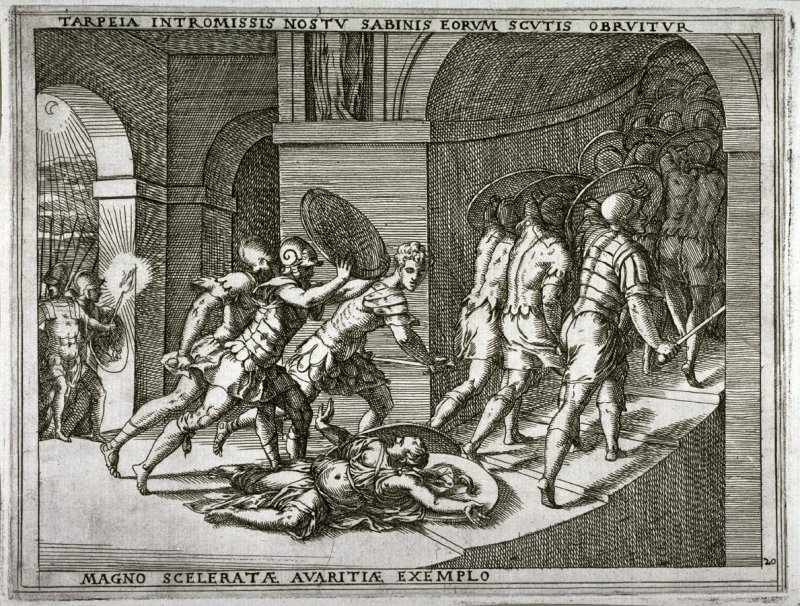 Tarpeia is Crushed Under the Sabine Shields, pl.20 from the series The Story of Romulus and Remus