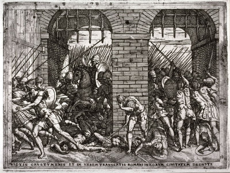 The Romans Entering the City of the Crustumerians, pl.18 from the series The Story of Romulus and Remus