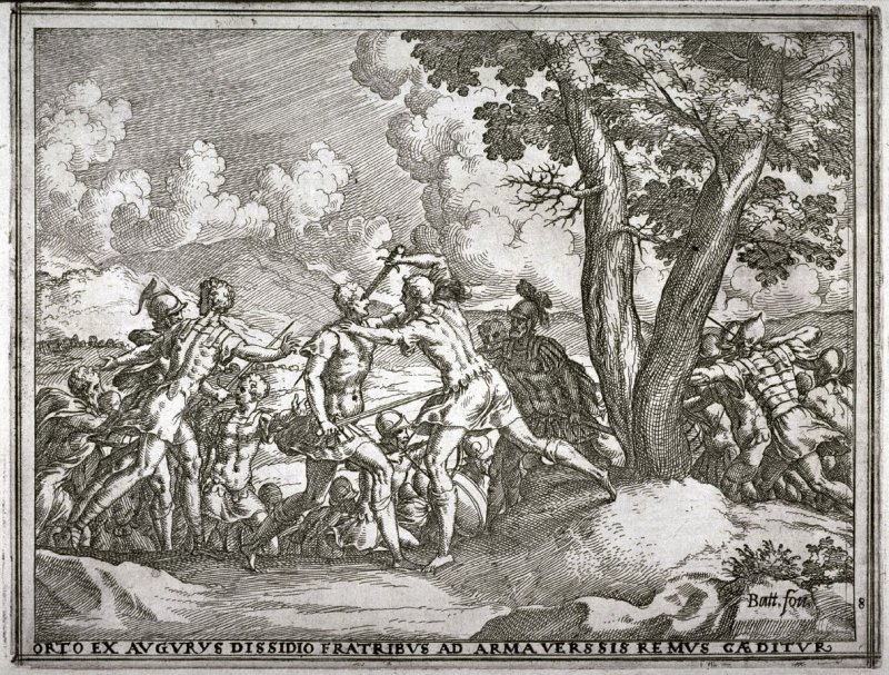 The Brothers, Divided By the Augurs, Resort to Arms and Remus is Killed, pl.8 from the series The Story of Romulus and Remus