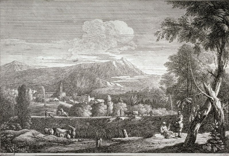 Landscape with various groups, animals and men, two pilgrims resting at roadside, lower left.