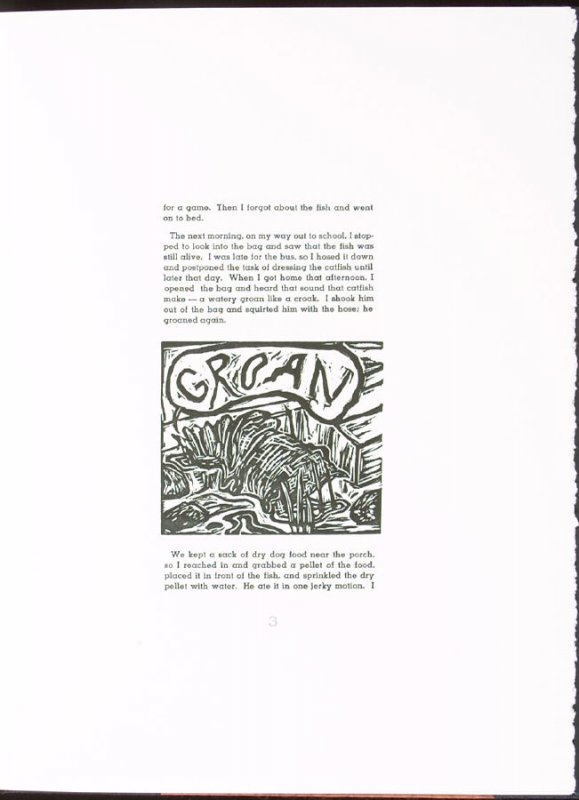 Groan on page 3 of the story, The Walking Catfish by Ke Francis, fifth image in the book Jugline: A Fish Tale and a Portfolio of Prints (Tupelo MS: Hoopsnake Press, 1992)