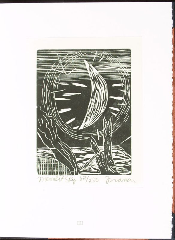 Moonlit Sky, plate 3 in the portfolio section, Portfolio, Ten Prints Related to the Pastime of Fishing by Ke Francis, fourteenth image in the book Jugline: A Fish Tale and a Portfolio of Prints (Tupelo MS: Hoopsnake Press, 1992)