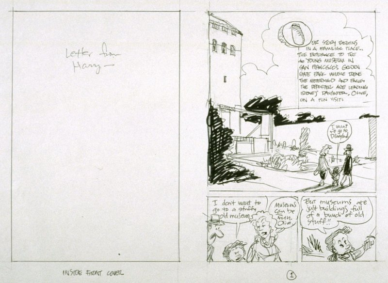 """sketch for p. 1 (and inside front cover) of The Ghost of the de Young Museum- """"Farley, Irene and Olive.....One San Francisco Family's Unusual Visits to the Museum."""""""