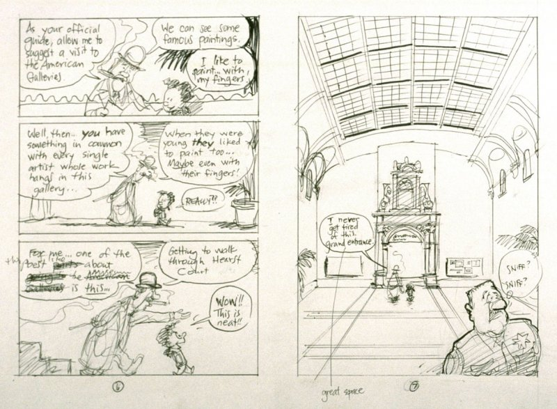 "sketch for pp. 6 and 7 of The Ghost of the de Young Museum- ""Farley, Irene and Olive.....One San Francisco Family's Unusual Visits to the Museum."""