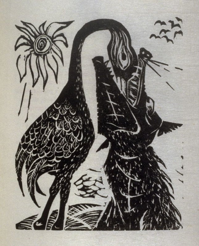 The Wolf and the Crane, illustration for the fifth fable in the book, Known Fables (New York: Spiral Press, 1964)