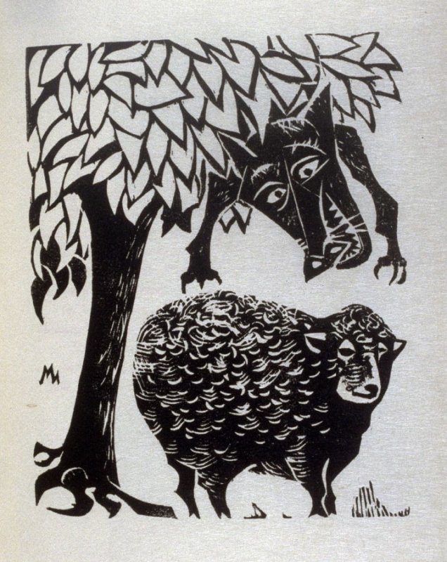 The Wolf and the Lamb, illustration for the sixth fable in the book, Known Fables (New York: Spiral Press, 1964)