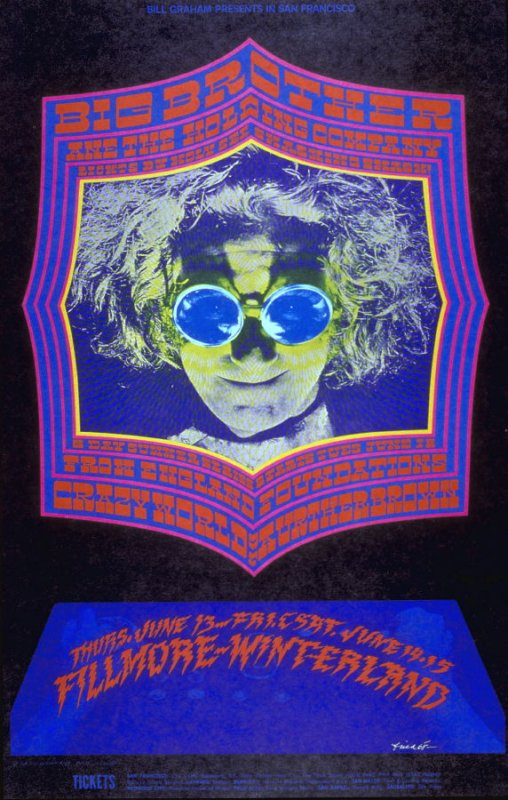 Big Brother & the Holding Company, Crazy World of Arthur Brown, Foundations, June 13, Fillmore Auditorium, June 14 & 15, Winterland