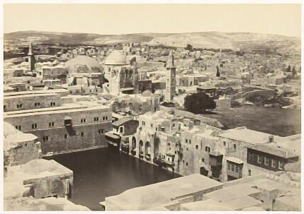 """""""The Pool of Hezekiah, Church of the Holy Sepulchre, &c. from the Tower of Hippicus,"""" in the book Egypt and Palestine, 2 vols., by Francis Frith (London: James S. Virtue, 1858-1859); volume I of II"""