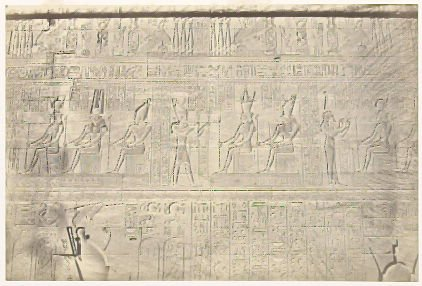 """""""Sculptures from the Outer Wall, Dendera,"""" in the book Egypt and Palestine, 2 vols., by Francis Frith (London: James S. Virtue, 1858-1859); volume I of II"""