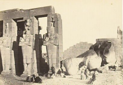 """""""Osiride Pillars and Great Fallen Colossus,"""" in the book Egypt and Palestine, 2 vols., by Francis Frith (London: James S. Virtue, 1858-1859); volume I of II"""